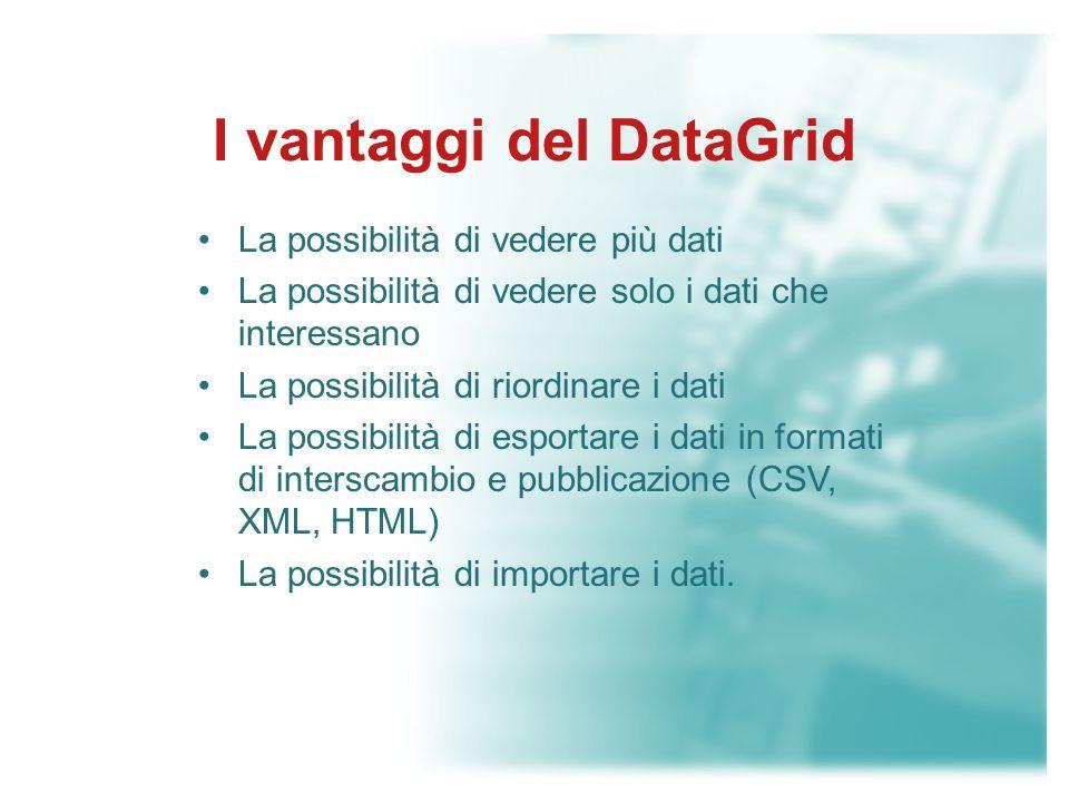 DataGrid Una visualizzazione interattiva dei dati