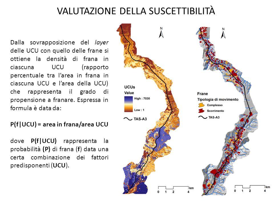 VALUTAZIONE DELLA SUSCETTIBILITÀ Dalla sovrapposizione del layer delle UCU con quello delle frane si ottiene la densità di frana in ciascuna UCU (rapp