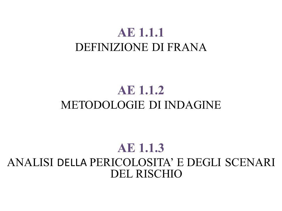 AE 1.1.1 DEFINIZIONE DI FRANA AE 1.1.2 METODOLOGIE DI INDAGINE AE 1.1.3 ANALISI DELLA PERICOLOSITA E DEGLI SCENARI DEL RISCHIO