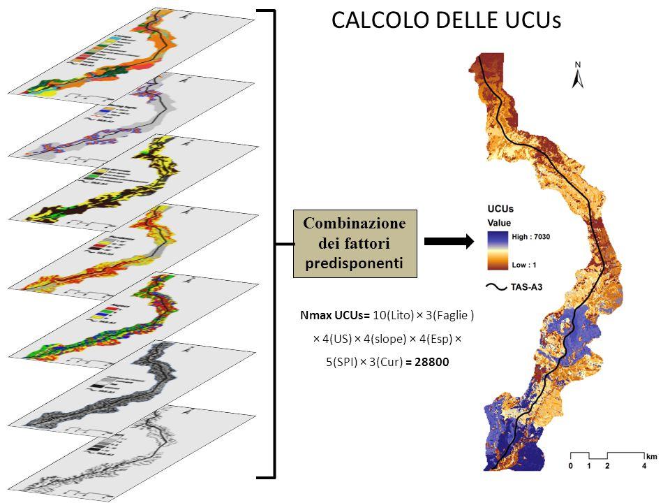 Combinazione dei fattori predisponenti CALCOLO DELLE UCUs Nmax UCUs= 10(Lito) × 3(Faglie ) × 4(US) × 4(slope) × 4(Esp) × 5(SPI) × 3(Cur) = 28800