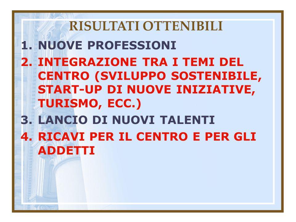 RISULTATI OTTENIBILI 1.NUOVE PROFESSIONI 2.INTEGRAZIONE TRA I TEMI DEL CENTRO (SVILUPPO SOSTENIBILE, START-UP DI NUOVE INIZIATIVE, TURISMO, ECC.) 3.LANCIO DI NUOVI TALENTI 4.RICAVI PER IL CENTRO E PER GLI ADDETTI