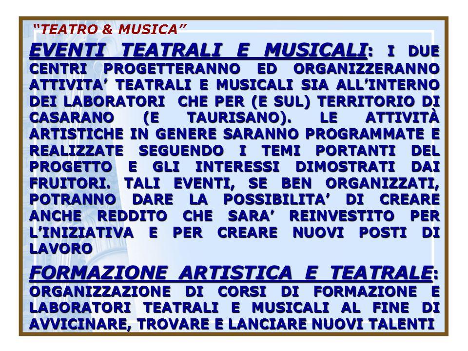 TEATRO & MUSICA EVENTI TEATRALI E MUSICALI : I DUE CENTRI PROGETTERANNO ED ORGANIZZERANNO ATTIVITA TEATRALI E MUSICALI SIA ALLINTERNO DEI LABORATORI CHE PER (E SUL) TERRITORIO DI CASARANO (E TAURISANO).