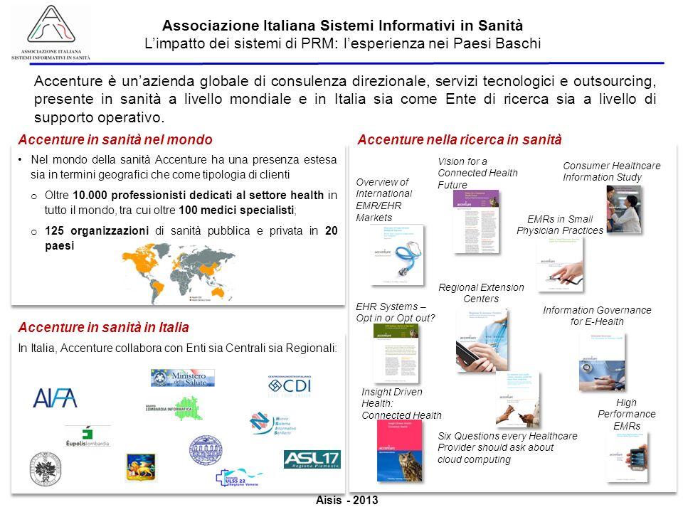 Aisis - 2013 Associazione Italiana Sistemi Informativi in Sanità Limpatto dei sistemi di PRM: lesperienza nei Paesi Baschi Accenture è unazienda globale di consulenza direzionale, servizi tecnologici e outsourcing, presente in sanità a livello mondiale e in Italia sia come Ente di ricerca sia a livello di supporto operativo.