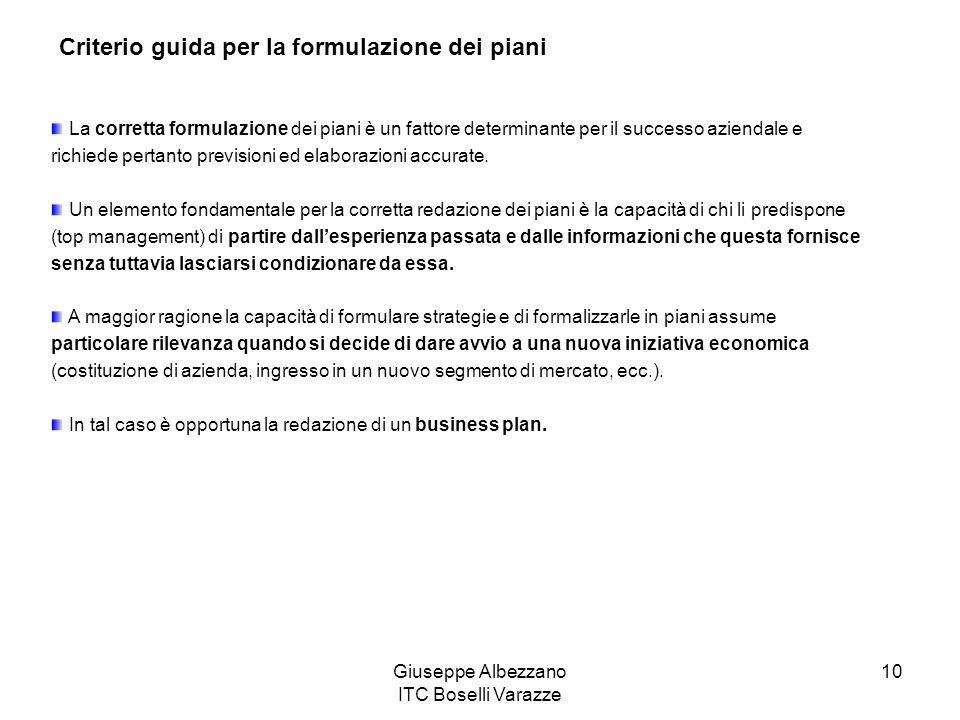 Giuseppe Albezzano ITC Boselli Varazze 10 Criterio guida per la formulazione dei piani La corretta formulazione dei piani è un fattore determinante pe