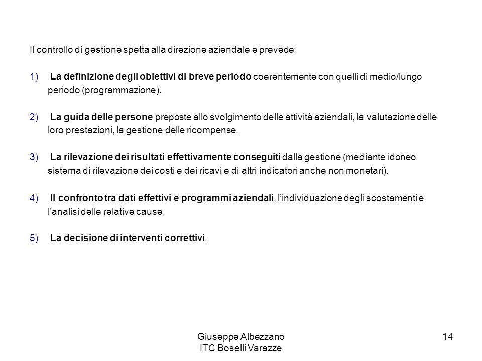 Giuseppe Albezzano ITC Boselli Varazze 14 Il controllo di gestione spetta alla direzione aziendale e prevede: 1) La definizione degli obiettivi di bre