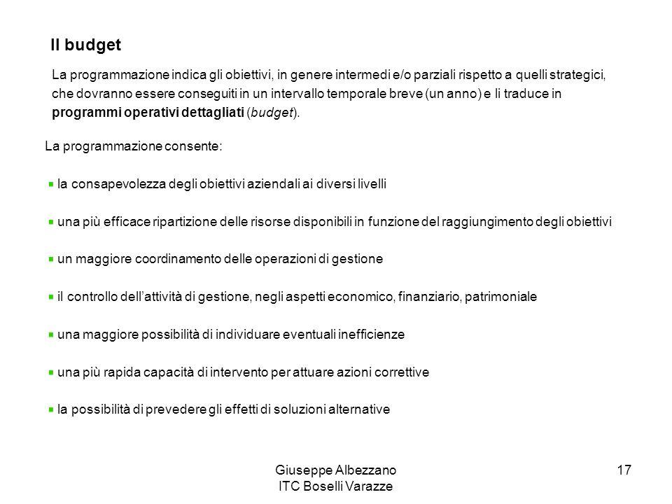 Giuseppe Albezzano ITC Boselli Varazze 17 Il budget La programmazione indica gli obiettivi, in genere intermedi e/o parziali rispetto a quelli strateg