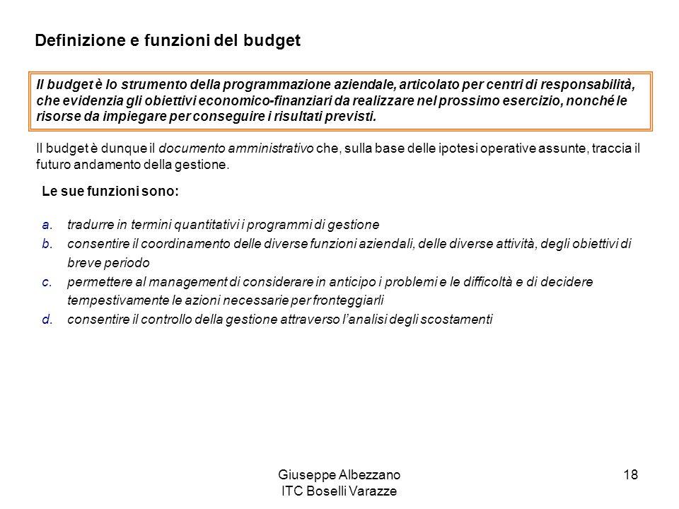 Giuseppe Albezzano ITC Boselli Varazze 18 Definizione e funzioni del budget Il budget è lo strumento della programmazione aziendale, articolato per ce
