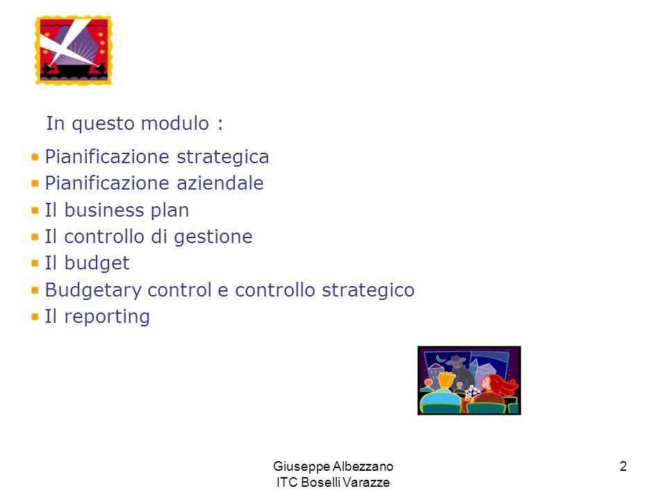 Giuseppe Albezzano ITC Boselli Varazze 2 In questo modulo : Pianificazione strategica Pianificazione aziendale Il business plan Il controllo di gestio