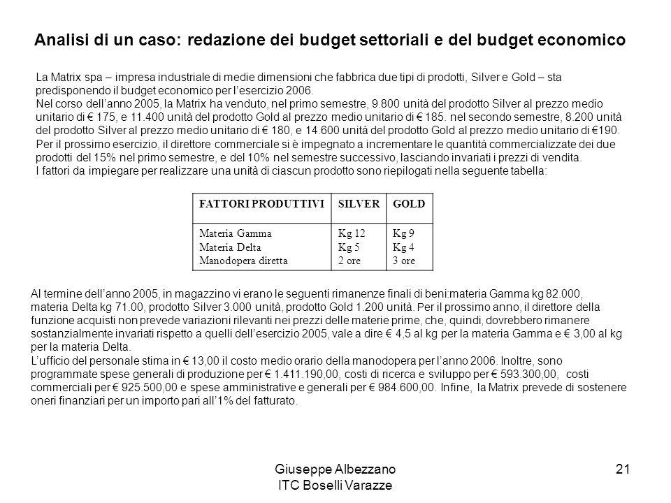 Giuseppe Albezzano ITC Boselli Varazze 21 Analisi di un caso: redazione dei budget settoriali e del budget economico La Matrix spa – impresa industria