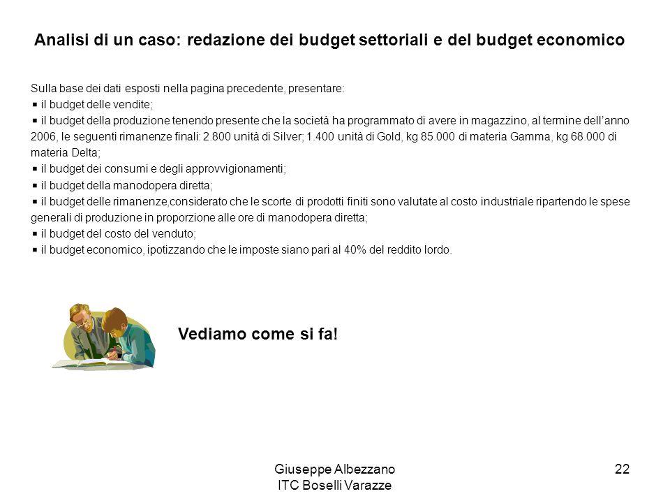 Giuseppe Albezzano ITC Boselli Varazze 22 Sulla base dei dati esposti nella pagina precedente, presentare: il budget delle vendite; il budget della pr