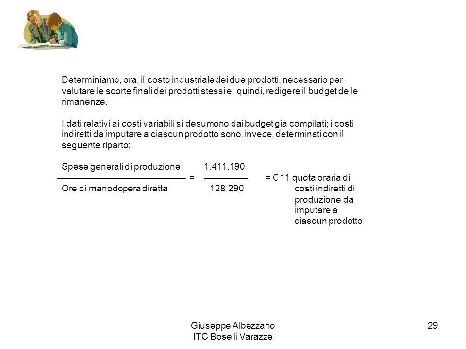 Giuseppe Albezzano ITC Boselli Varazze 29 Determiniamo, ora, il costo industriale dei due prodotti, necessario per valutare le scorte finali dei prodo