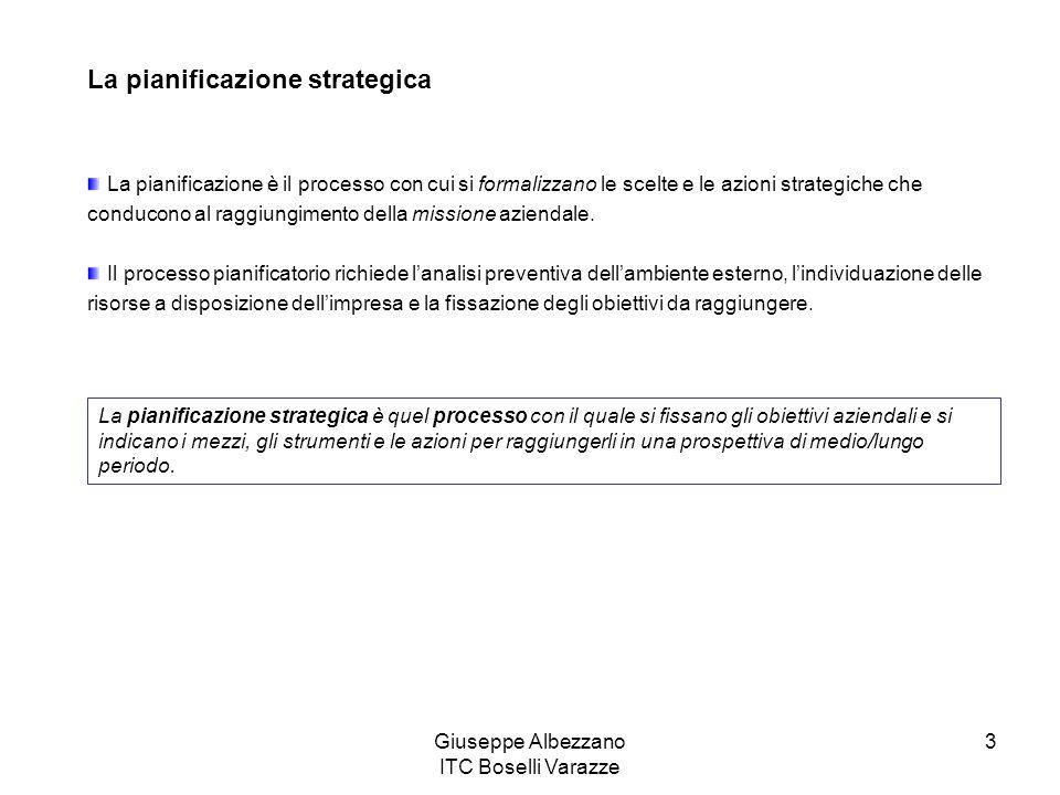 Giuseppe Albezzano ITC Boselli Varazze 3 La pianificazione strategica La pianificazione è il processo con cui si formalizzano le scelte e le azioni st