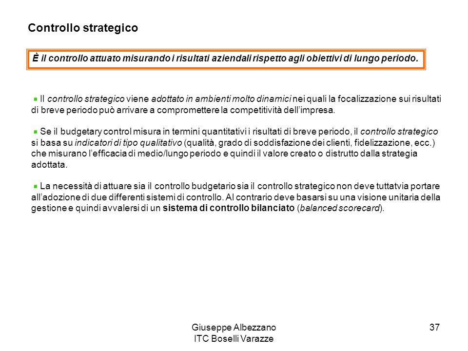 Giuseppe Albezzano ITC Boselli Varazze 37 Controllo strategico È il controllo attuato misurando i risultati aziendali rispetto agli obiettivi di lungo