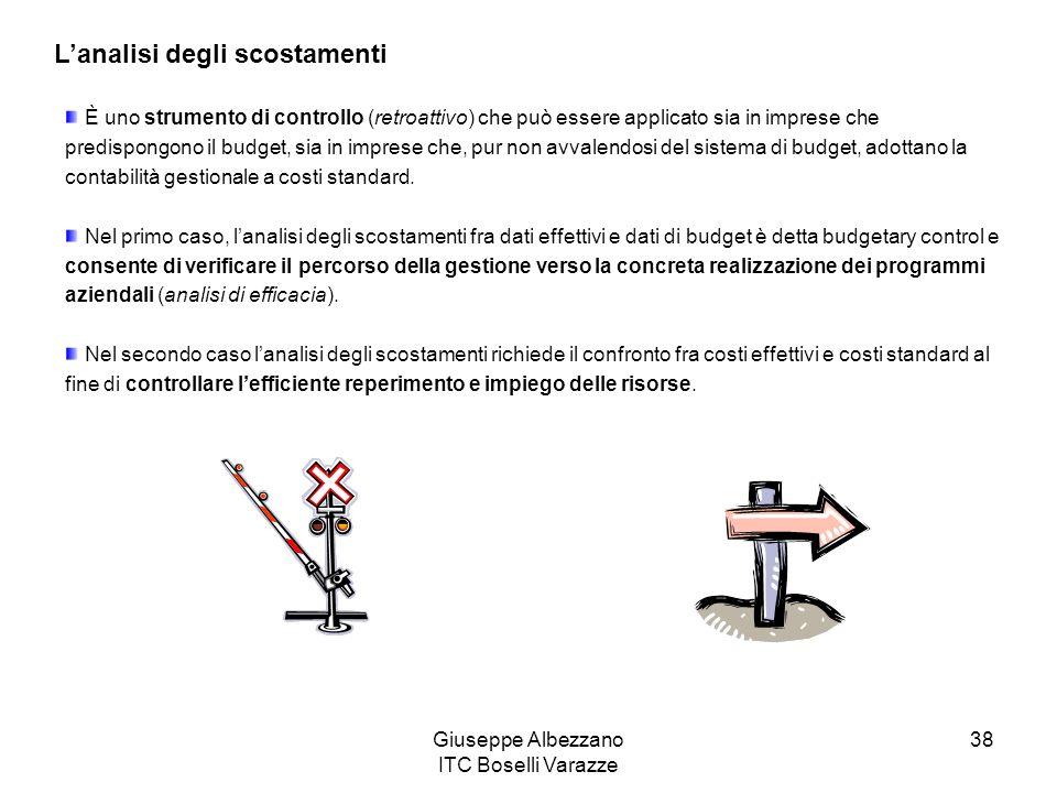 Giuseppe Albezzano ITC Boselli Varazze 38 Lanalisi degli scostamenti È uno strumento di controllo (retroattivo) che può essere applicato sia in impres