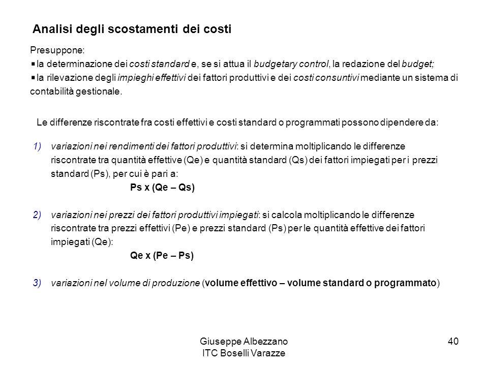 Giuseppe Albezzano ITC Boselli Varazze 40 Analisi degli scostamenti dei costi Presuppone: la determinazione dei costi standard e, se si attua il budge