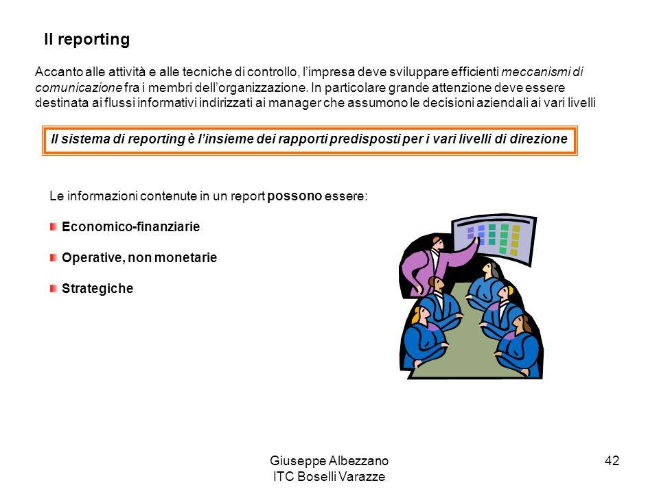 Giuseppe Albezzano ITC Boselli Varazze 42 Il reporting Accanto alle attività e alle tecniche di controllo, limpresa deve sviluppare efficienti meccani