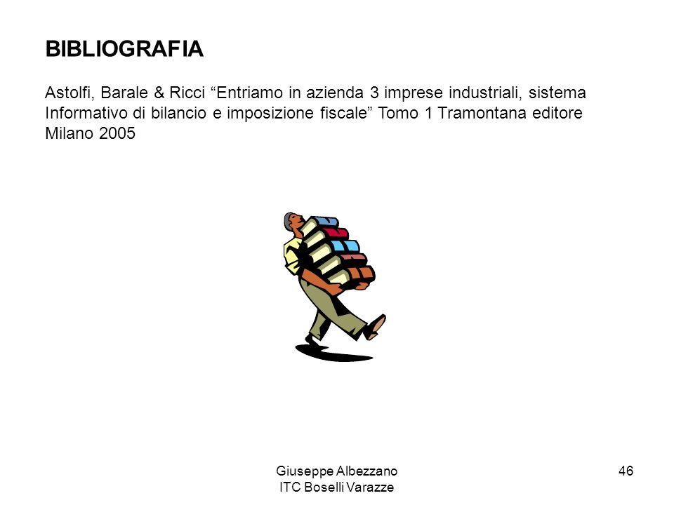 Giuseppe Albezzano ITC Boselli Varazze 46 BIBLIOGRAFIA Astolfi, Barale & Ricci Entriamo in azienda 3 imprese industriali, sistema Informativo di bilan