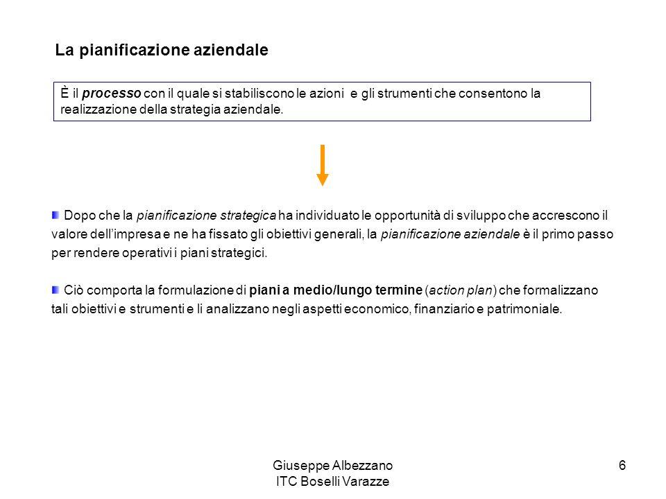 Giuseppe Albezzano ITC Boselli Varazze 6 La pianificazione aziendale È il processo con il quale si stabiliscono le azioni e gli strumenti che consento