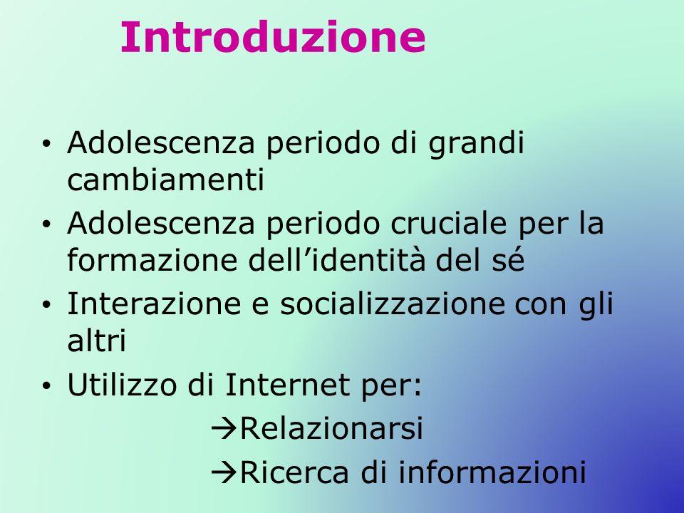Introduzione Adolescenza periodo di grandi cambiamenti Adolescenza periodo cruciale per la formazione dellidentità del sé Interazione e socializzazione con gli altri Utilizzo di Internet per: Relazionarsi Ricerca di informazioni