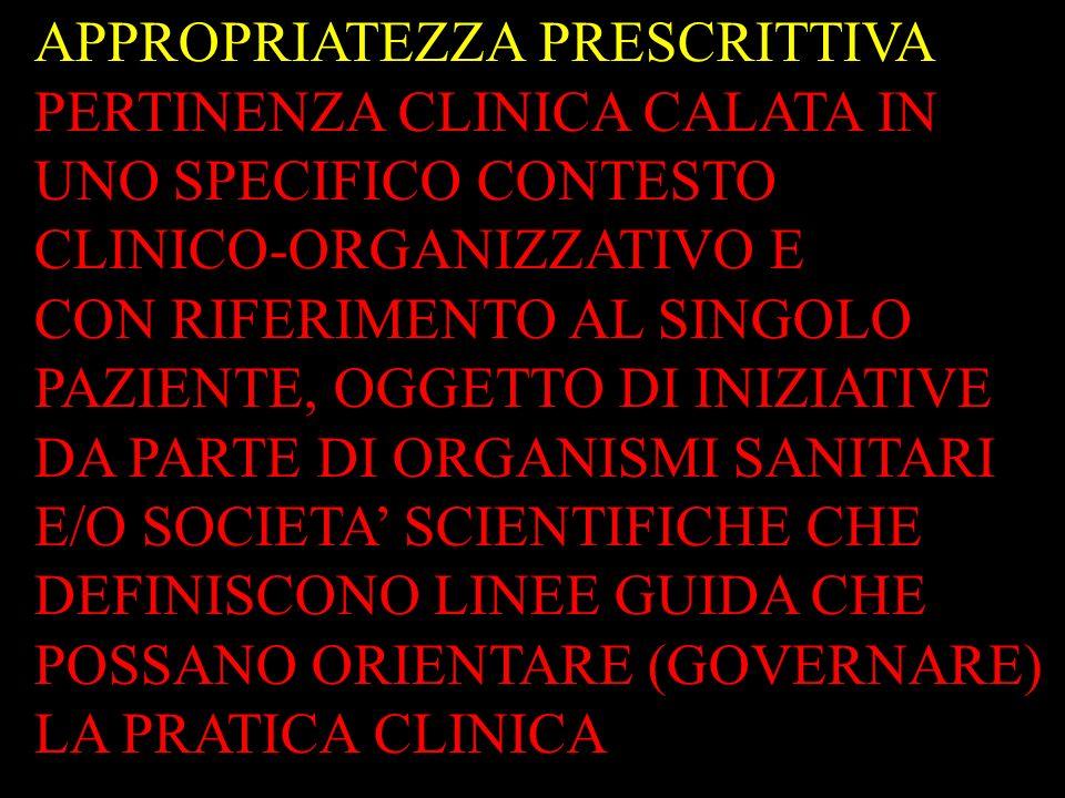APPROPRIATEZZA PRESCRITTIVA PERTINENZA CLINICA CALATA IN UNO SPECIFICO CONTESTO CLINICO-ORGANIZZATIVO E CON RIFERIMENTO AL SINGOLO PAZIENTE, OGGETTO D