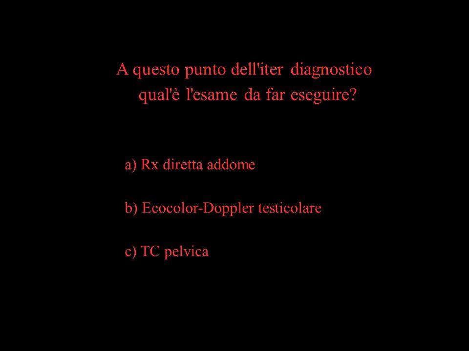 A questo punto dell'iter diagnostico qual'è l'esame da far eseguire? a) Rx diretta addome b) Ecocolor-Doppler testicolare c) TC pelvica