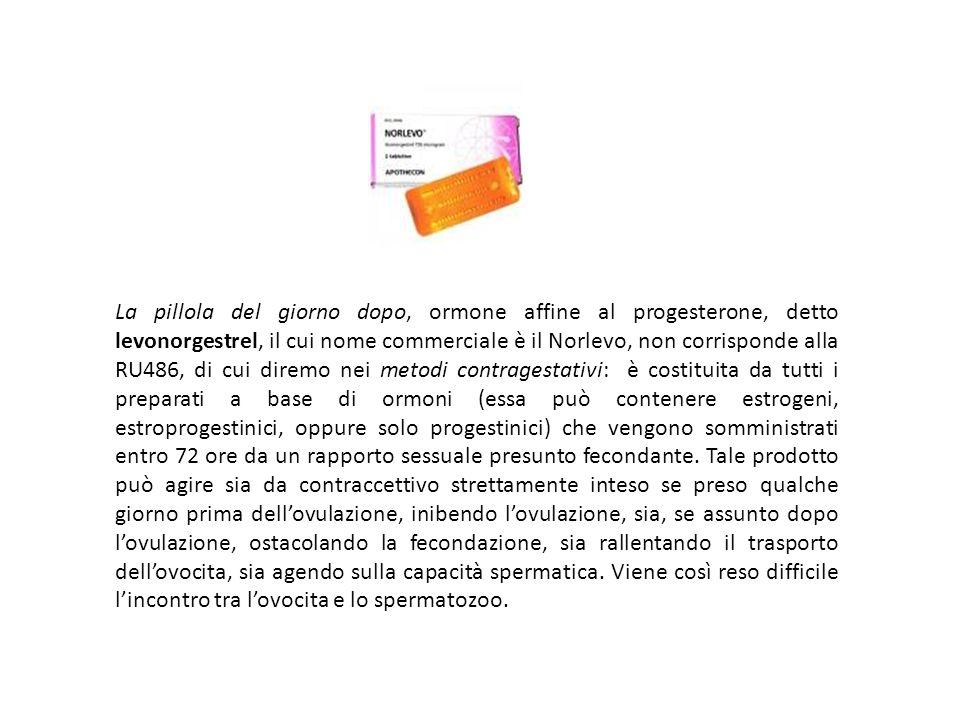 La pillola del giorno dopo, ormone affine al progesterone, detto levonorgestrel, il cui nome commerciale è il Norlevo, non corrisponde alla RU486, di