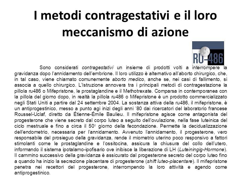 I metodi contragestativi e il loro meccanismo di azione Sono considerati contragestativi un insieme di prodotti volti a interrompere la gravidanza dop