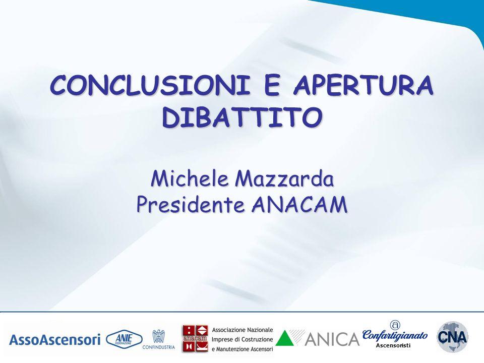 Ascensoristi CONCLUSIONI E APERTURA DIBATTITO Michele Mazzarda Presidente ANACAM