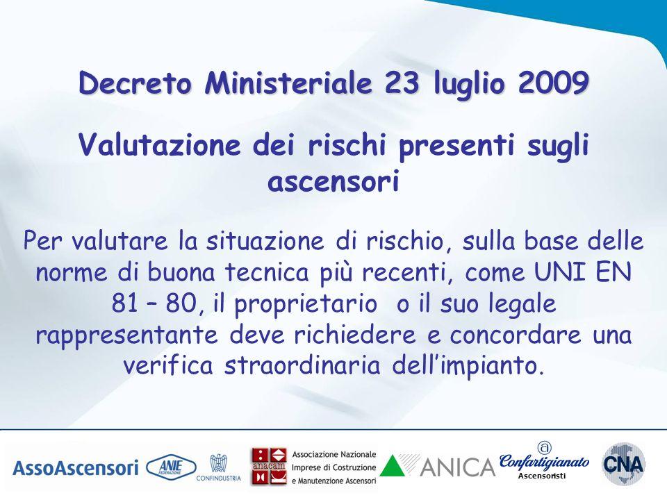 Ascensoristi Decreto Ministeriale 23 luglio 2009 Valutazione dei rischi presenti sugli ascensori Per valutare la situazione di rischio, sulla base del