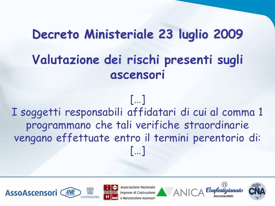 Ascensoristi Decreto Ministeriale 23 luglio 2009 Valutazione dei rischi presenti sugli ascensori […] I soggetti responsabili affidatari di cui al comm
