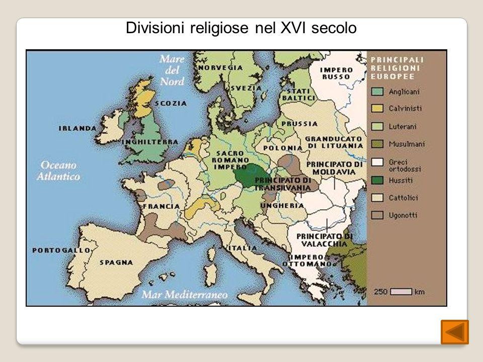 Divisioni religiose nel XVI secolo