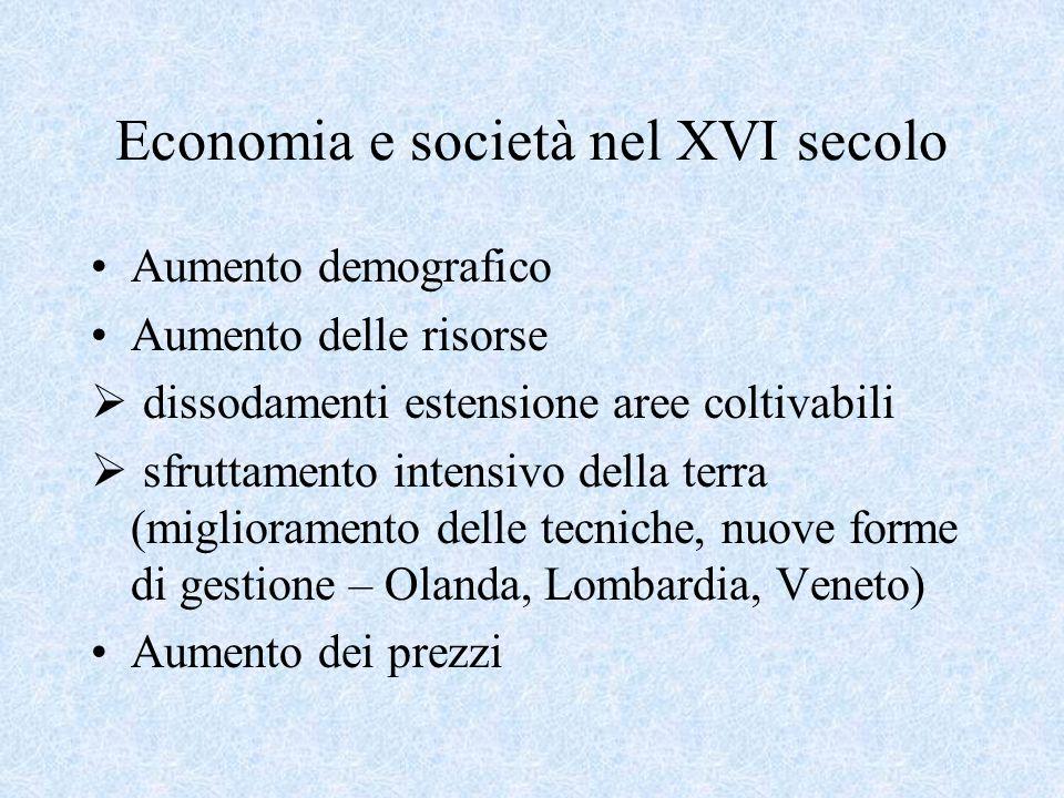 Economia e società nel XVI secolo Aumento demografico Aumento delle risorse dissodamenti estensione aree coltivabili sfruttamento intensivo della terr
