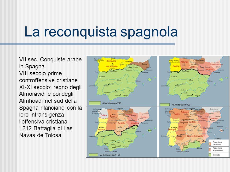 La reconquista spagnola VII sec. Conquiste arabe in Spagna VIII secolo prime controffensive cristiane XI-XI secolo: regno degli Almoravidi e poi degli