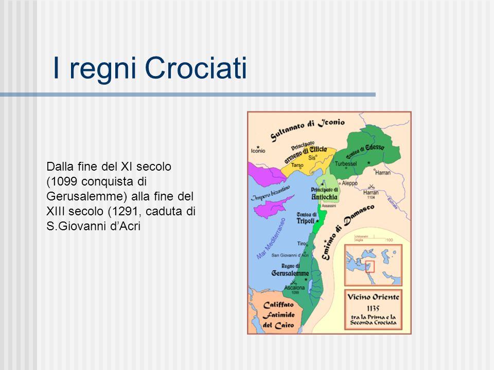 I regni Crociati Dalla fine del XI secolo (1099 conquista di Gerusalemme) alla fine del XIII secolo (1291, caduta di S.Giovanni dAcri