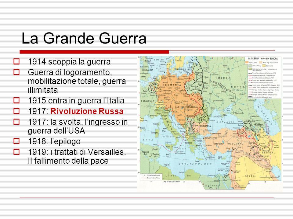 La Grande Guerra 1914 scoppia la guerra Guerra di logoramento, mobilitazione totale, guerra illimitata 1915 entra in guerra lItalia 1917: Rivoluzione