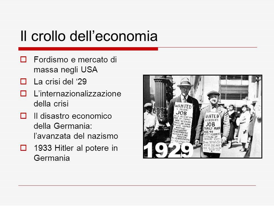 Il crollo delleconomia Fordismo e mercato di massa negli USA La crisi del 29 Linternazionalizzazione della crisi Il disastro economico della Germania:
