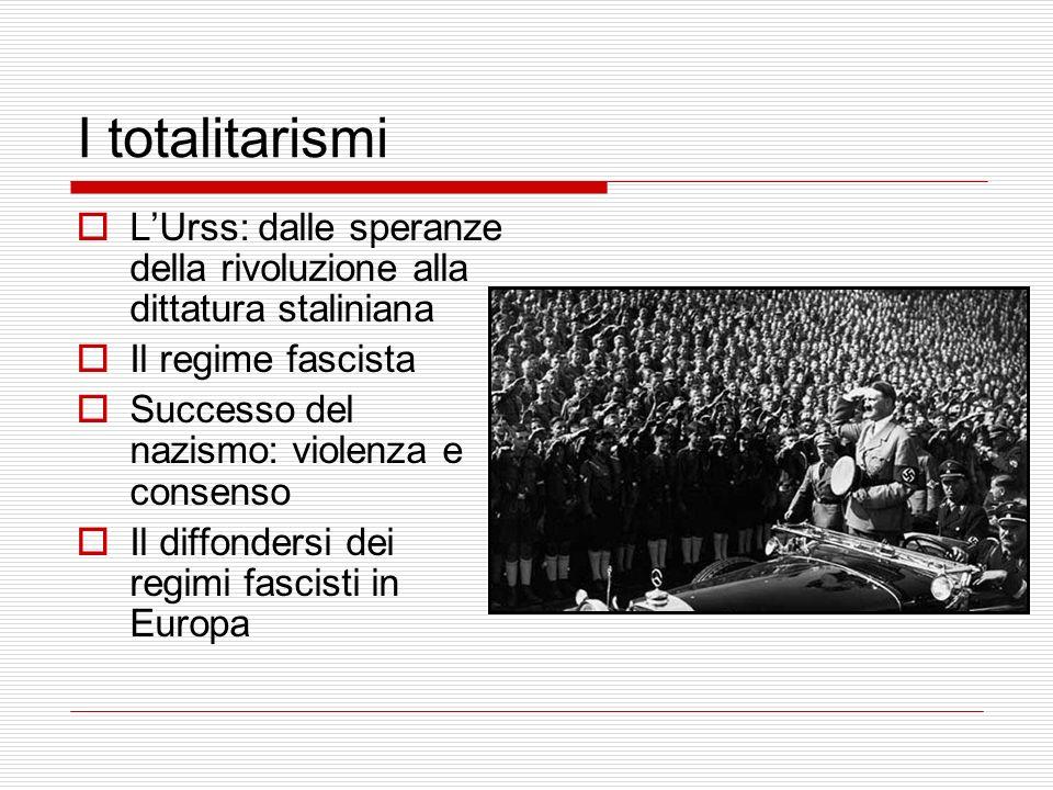 I totalitarismi LUrss: dalle speranze della rivoluzione alla dittatura staliniana Il regime fascista Successo del nazismo: violenza e consenso Il diff