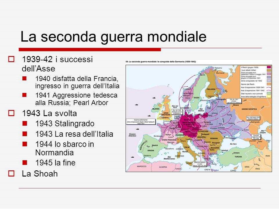 La seconda guerra mondiale 1939-42 i successi dellAsse 1940 disfatta della Francia, ingresso in guerra dellItalia 1941 Aggressione tedesca alla Russia