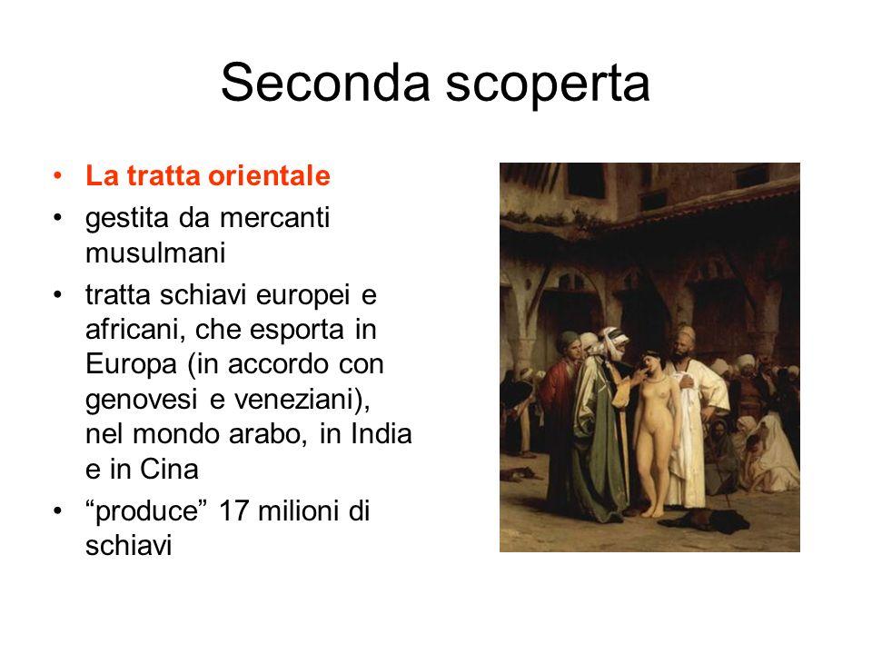 Seconda scoperta La tratta orientale gestita da mercanti musulmani tratta schiavi europei e africani, che esporta in Europa (in accordo con genovesi e veneziani), nel mondo arabo, in India e in Cina produce 17 milioni di schiavi