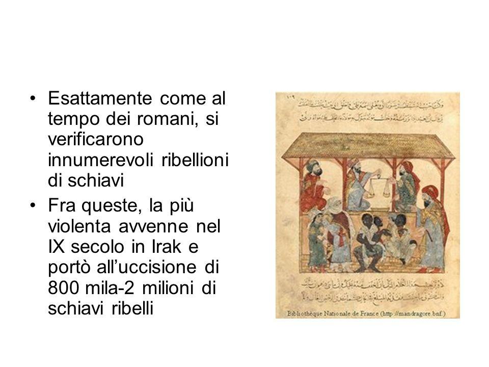 Esattamente come al tempo dei romani, si verificarono innumerevoli ribellioni di schiavi Fra queste, la più violenta avvenne nel IX secolo in Irak e portò alluccisione di 800 mila-2 milioni di schiavi ribelli