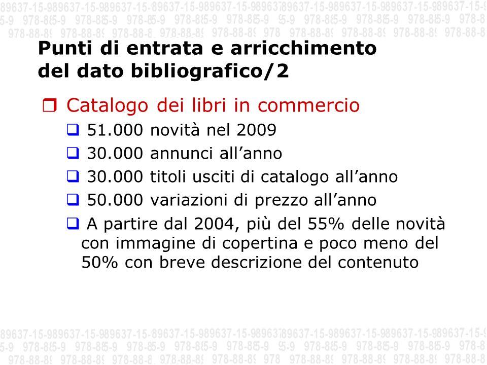 Punti di entrata e arricchimento del dato bibliografico/2 Catalogo dei libri in commercio 51.000 novità nel 2009 30.000 annunci allanno 30.000 titoli