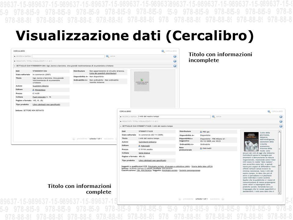 Visualizzazione dati (Cercalibro) Titolo con informazioni incomplete Titolo con informazioni complete