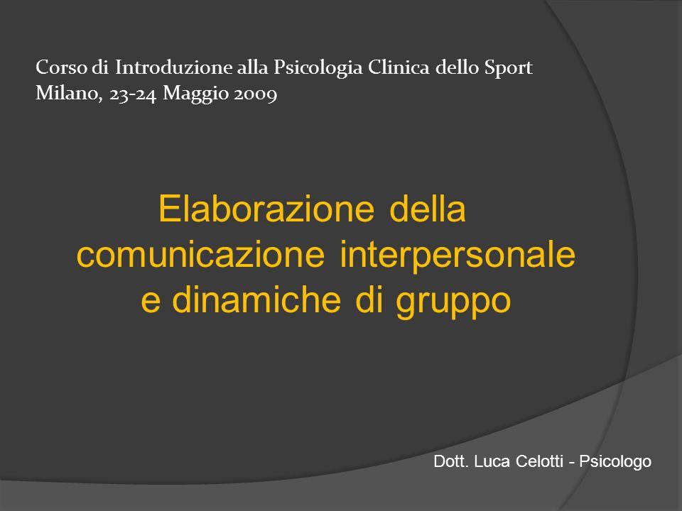 Corso di Introduzione alla Psicologia Clinica dello Sport Milano, 23-24 Maggio 2009 Elaborazione della comunicazione interpersonale e dinamiche di gru