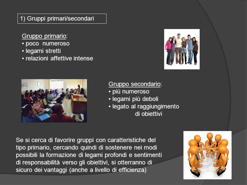 Gruppo primario: poco numeroso legami stretti relazioni affettive intense Se si cerca di favorire gruppi con caratteristiche del tipo primario, cercan