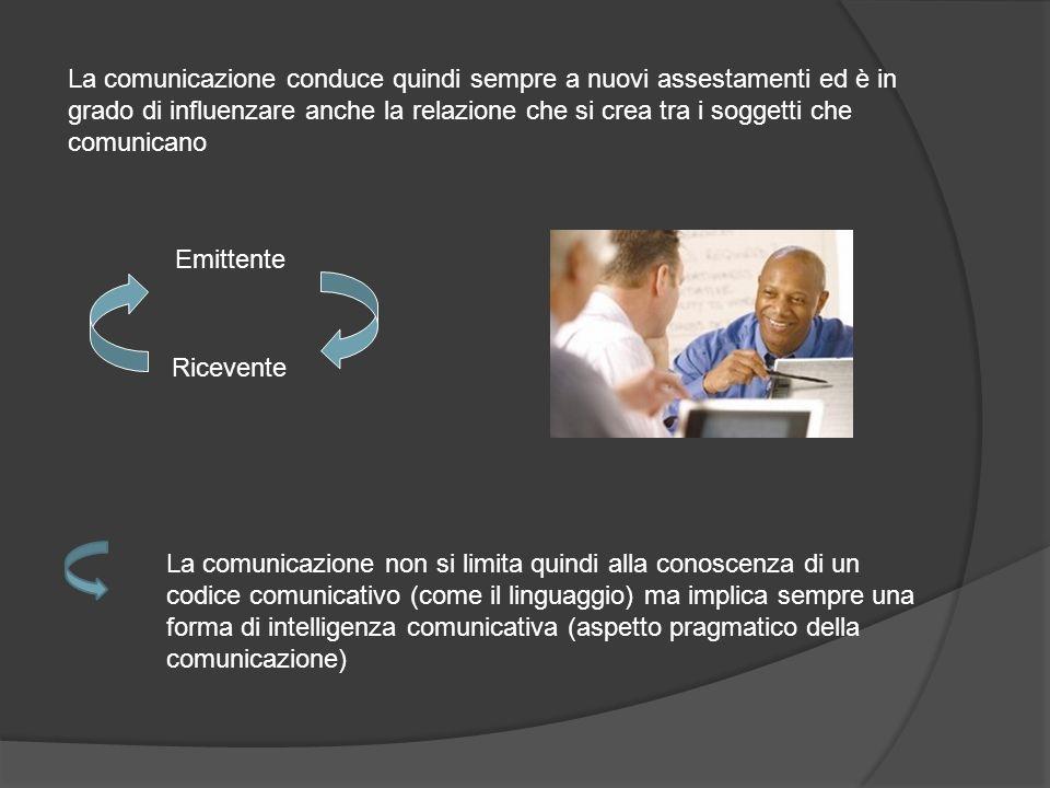 La comunicazione conduce quindi sempre a nuovi assestamenti ed è in grado di influenzare anche la relazione che si crea tra i soggetti che comunicano