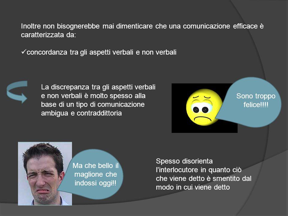 Inoltre non bisognerebbe mai dimenticare che una comunicazione efficace è caratterizzata da: concordanza tra gli aspetti verbali e non verbali Sono tr