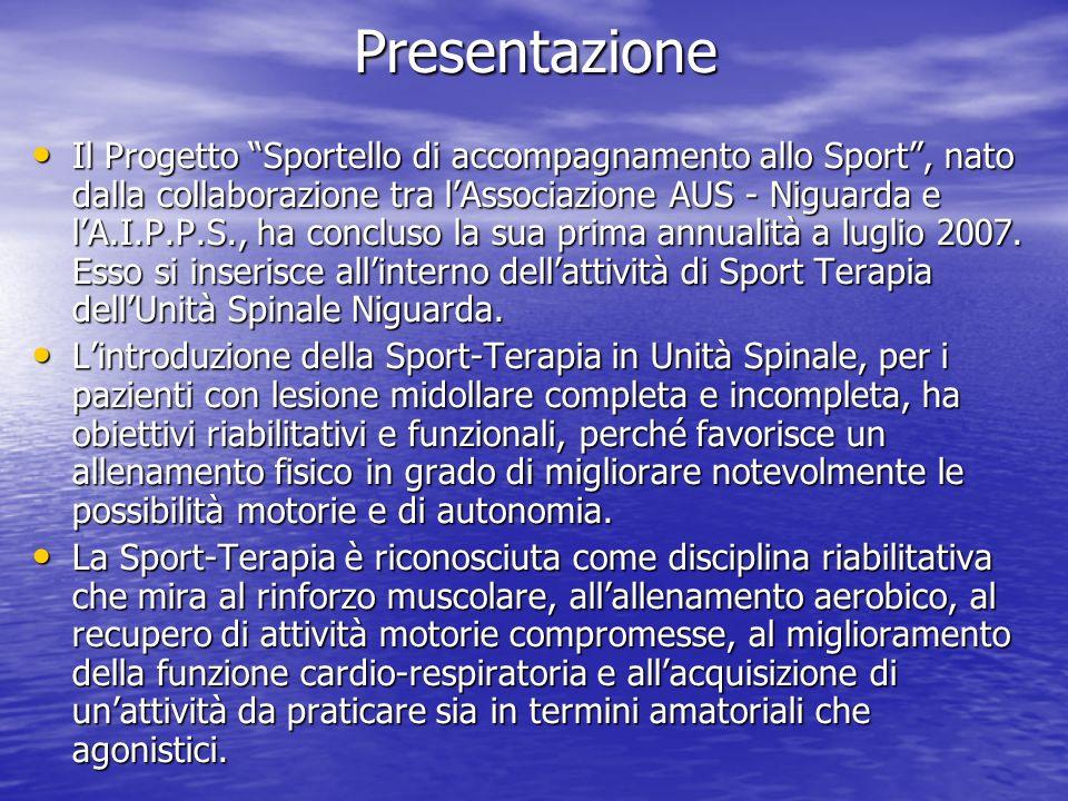 Presentazione Il Progetto Sportello di accompagnamento allo Sport, nato dalla collaborazione tra lAssociazione AUS - Niguarda e lA.I.P.P.S., ha conclu
