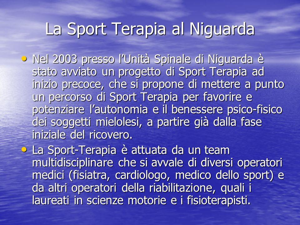 La Sport Terapia al Niguarda Nel 2003 presso lUnità Spinale di Niguarda è stato avviato un progetto di Sport Terapia ad inizio precoce, che si propone di mettere a punto un percorso di Sport Terapia per favorire e potenziare lautonomia e il benessere psico-fisico dei soggetti mielolesi, a partire già dalla fase iniziale del ricovero.