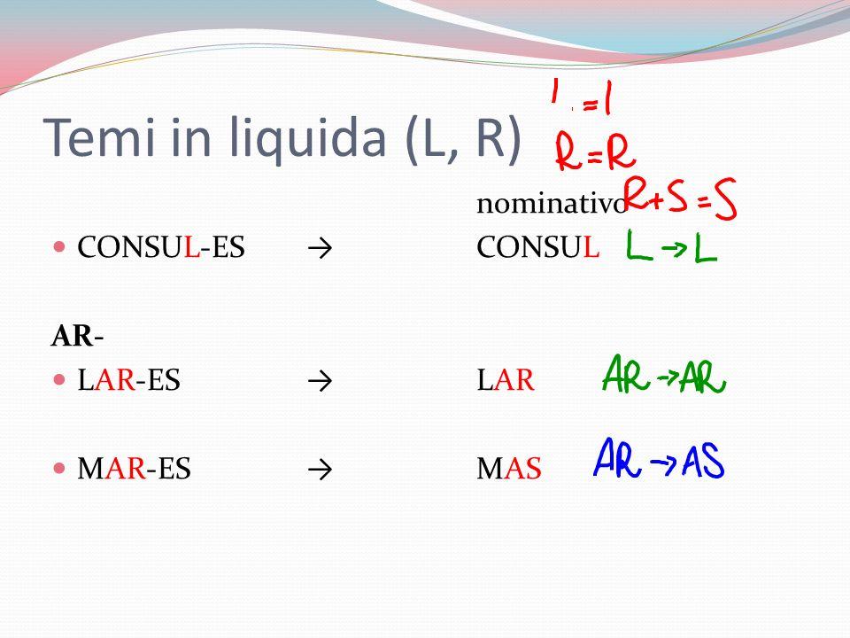 Temi in liquida (L, R) nominativo CONSUL-ESCONSUL AR- LAR-ES LAR MAR-ES MAS
