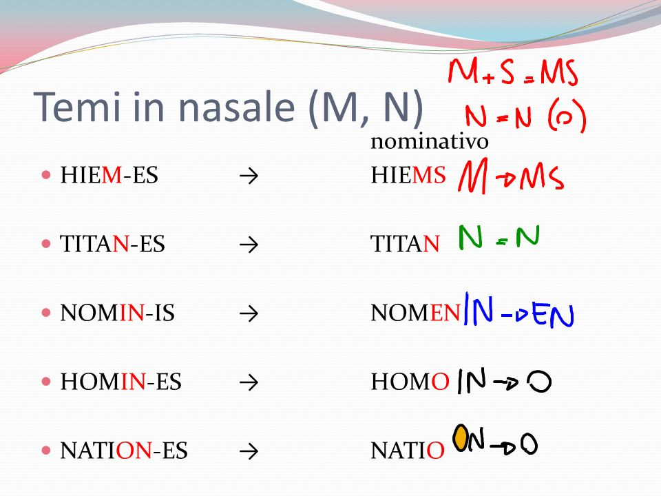 Temi in nasale (M, N) nominativo HIEM-ESHIEMS TITAN-ESTITAN NOMIN-IS NOMEN HOMIN-ES HOMO NATION-ESNATIO